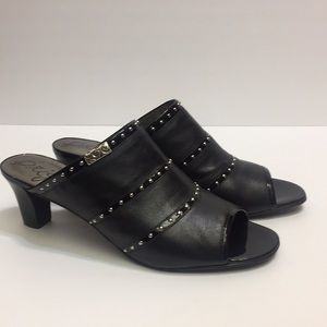Brighton Teri Black Slip On Mules. Size 10 M